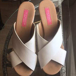 All leather white  sexy platform slides
